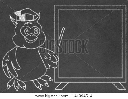 Wise owl teacher on chalkboard teaching children