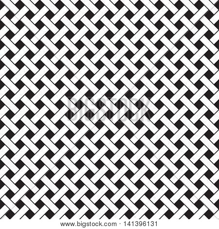Basket weave seamless pattern. Braiding continuous background of diagonal intersecting perpendicular stripes. Wicker repeating texture. Geometric vector illustration in black and white colors.