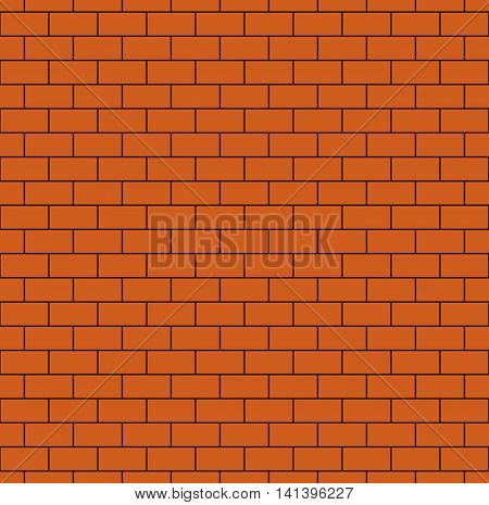 Russet brick wall seamless pattern. Continuous bricks background. Repeating texture of bricklaying. Simple vector illustration with brickwork.