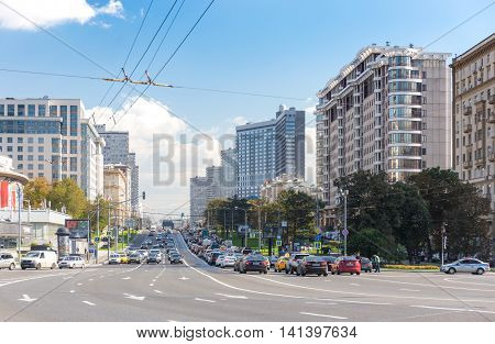 MOSCOW - SEPTEMBER 15, 2015: Heavy traffic on New Arbat Street. The modern six-lane avenue was constructed between 1962 and 1968.