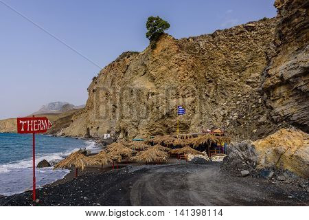 Therma - a popular beach and hot springs on Kos island, Dodecanese, Greece.