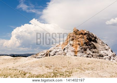 White Dome Geyser sitting inactive before an eruption