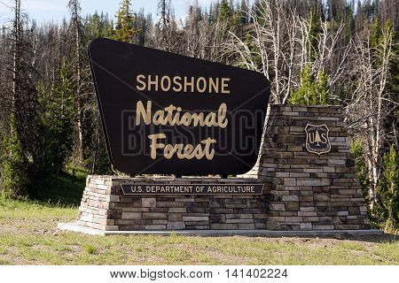 Sign marking the boundary of the Shoshone National Forest