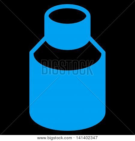 Phial vector icon. Style is flat symbol, blue color, rounded angles, black background.