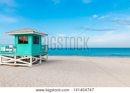 Lifeguard Tower in Venice Beach Florida, summer landscape