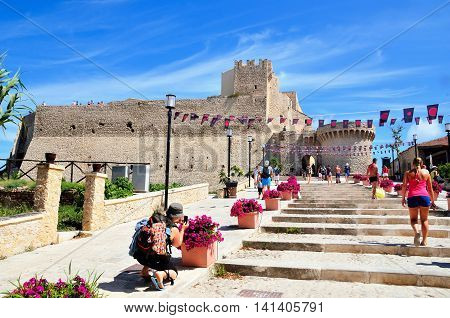 TREMITI ISLAND (SAN NICOLA) ITALY AUGUST 20 -tourists visiting the castle