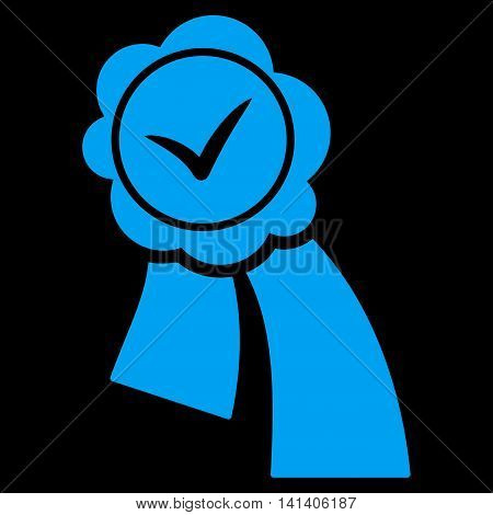 Validation Seal vector icon. Style is flat symbol, blue color, rounded angles, black background.