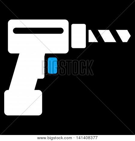 Drill vector icon. Style is bicolor flat symbol, blue and white colors, rounded angles, black background.