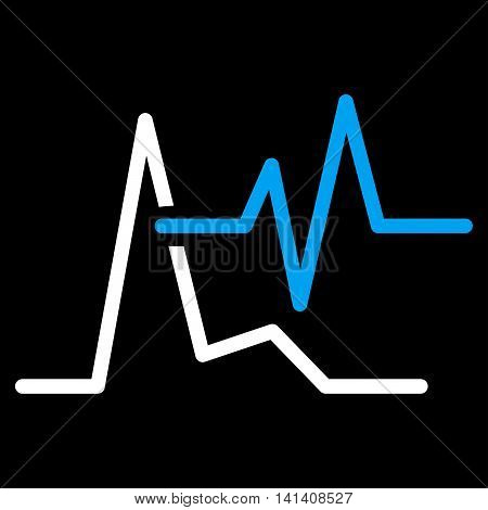 Ecg vector icon. Style is bicolor flat symbol, blue and white colors, rounded angles, black background.