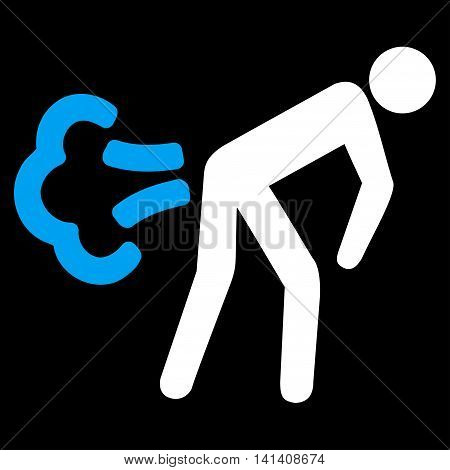 Fart vector icon. Style is bicolor flat symbol, blue and white colors, rounded angles, black background.