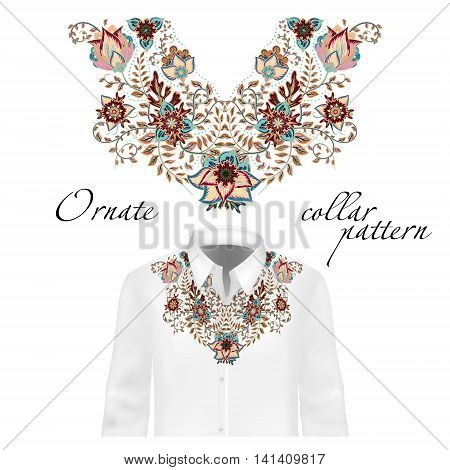 Vector design for collar shirts, shirts, blouses. Colorful ethnic flowers neck. Paisley decorative border. Ornate collar pattern. Brown beige blue.