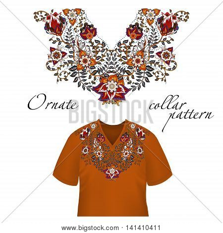 Vector design for collar shirts, shirts, blouses. Colorful ethnic flowers neck. Paisley decorative border. Ornate collar pattern. Brown orange blue.