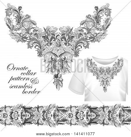 Neckline embroidery fashion, print, decor, lace, paisley, stock vector. Luxury flowers collar designe. Seamless border bonus. Gray