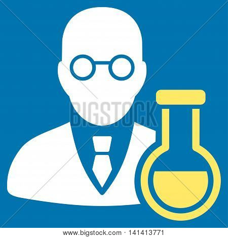 Chemist vector icon. Style is bicolor flat symbol, yellow and white colors, rounded angles, blue background.