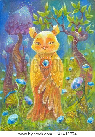 Fantastic owl fantasy background. Creative poster suit for print on clothes t-shirt children illustration. Hand-drawn painting on silk. Cute character. Magic landscape.