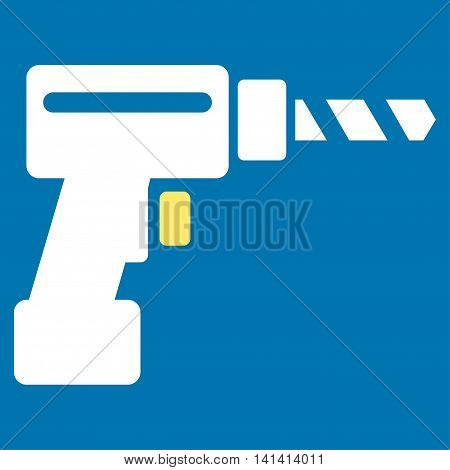 Drill vector icon. Style is bicolor flat symbol, yellow and white colors, rounded angles, blue background.