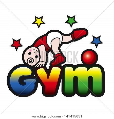 Baby gym todler exercise with the red ball
