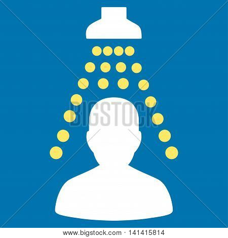 Patient Disinfection vector icon. Style is bicolor flat symbol, yellow and white colors, rounded angles, blue background.