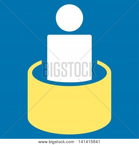 Patient Isolation vector icon. Style is bicolor flat symbol, yellow and white colors, rounded angles, blue background.