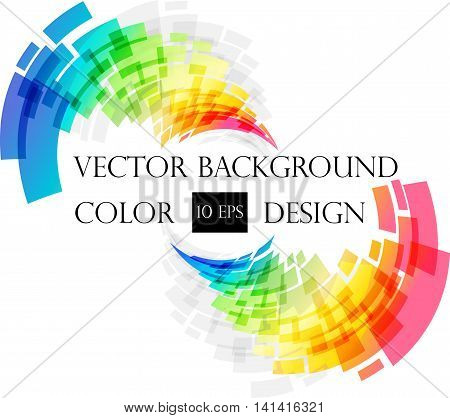 Colored abstract techno frame on white background