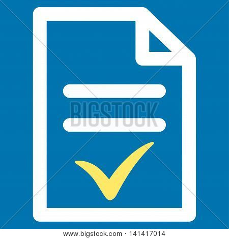 Valid Document vector icon. Style is bicolor flat symbol, yellow and white colors, rounded angles, blue background.