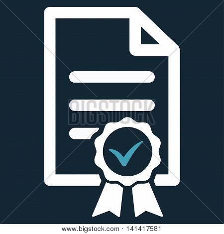 Certified vector icon. Style is bicolor flat symbol, blue and white colors, rounded angles, dark blue background.