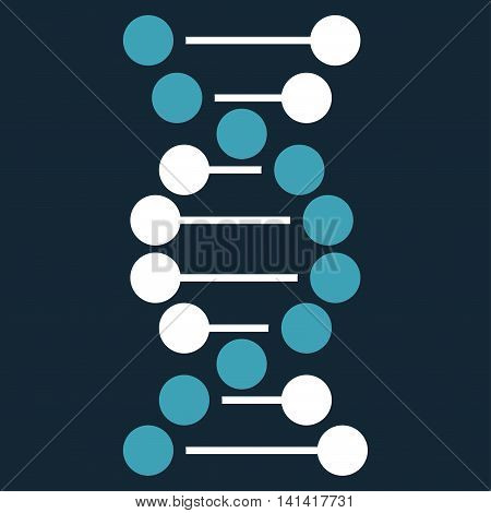 Dna vector icon. Style is bicolor flat symbol, blue and white colors, rounded angles, dark blue background.