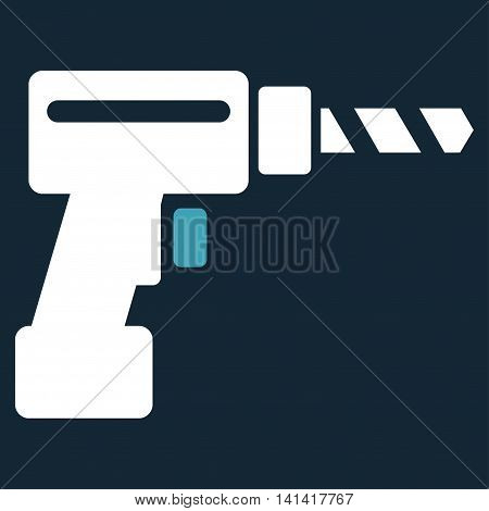 Drill vector icon. Style is bicolor flat symbol, blue and white colors, rounded angles, dark blue background.