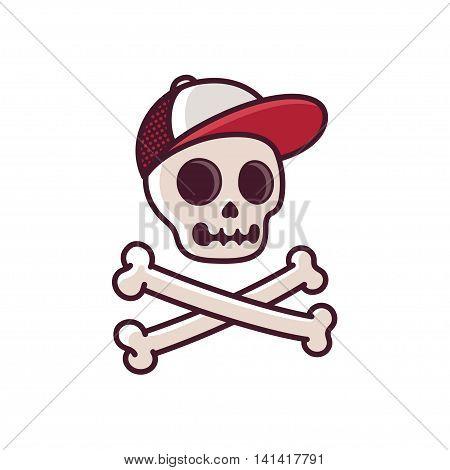 Cartoon human skull in baseball cap with crossbones. Cool comic style illustration.