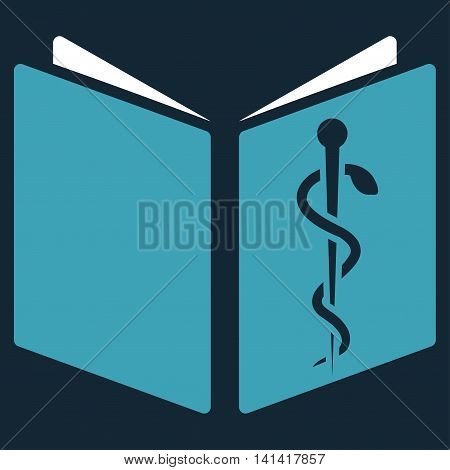 Drug Handbook vector icon. Style is bicolor flat symbol, blue and white colors, rounded angles, dark blue background.