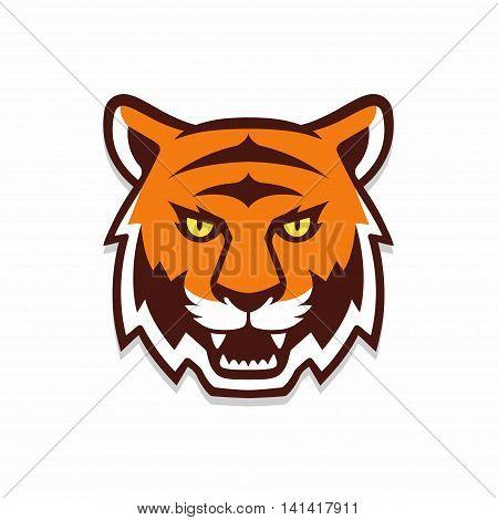 Tiger head illustration sport mascot or team logo. Traditional comic cartoon style.