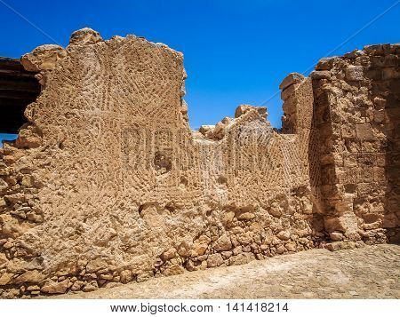 The ruins of the ancient Masada fortress in the Judaean Desert Israel