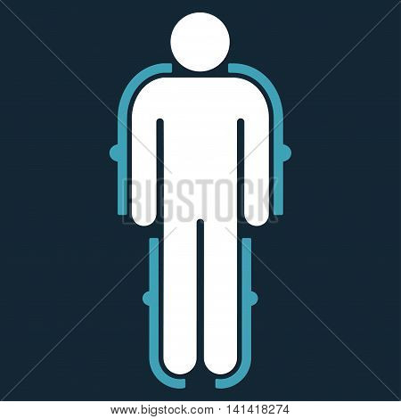 Exoskeleton vector icon. Style is bicolor flat symbol, blue and white colors, rounded angles, dark blue background.