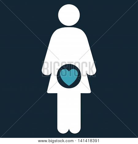 Fertility vector icon. Style is bicolor flat symbol, blue and white colors, rounded angles, dark blue background.