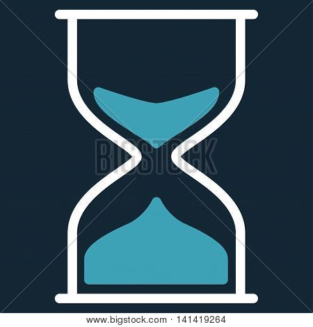 Hourglass vector icon. Style is bicolor flat symbol, blue and white colors, rounded angles, dark blue background.