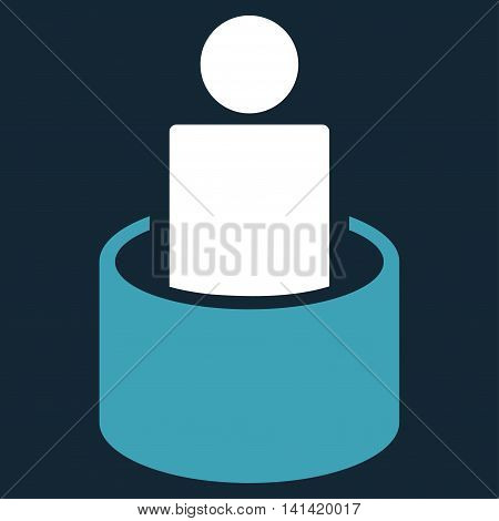 Patient Isolation vector icon. Style is bicolor flat symbol, blue and white colors, rounded angles, dark blue background.