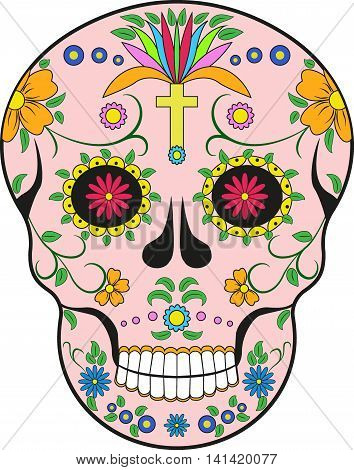 Scull. Mexico.Pop-art modern illustration decorative scull isolated on white
