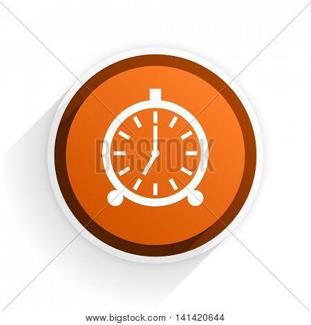 alarm flat icon with shadow on white background, orange modern design web element