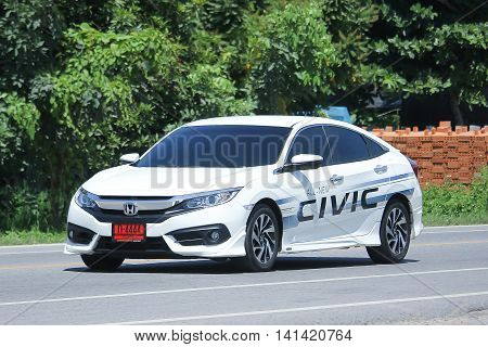 CHIANGMAI THAILAND -JULY 27 2016: Private car New Honda Civic. On road no.1001 8 km from Chiangmai Business Area.