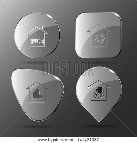 4 images: bedroom, protection of nature, hothouse, nursing home. Home set. Glass buttons. Vector illustration icon.