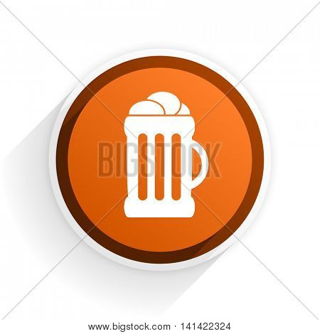 beer flat icon with shadow on white background, orange modern design web element