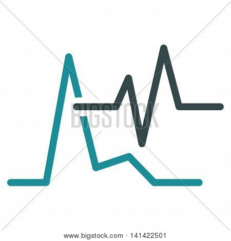 Ecg vector icon. Style is bicolor flat symbol, soft blue colors, rounded angles, white background.