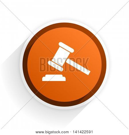 auction flat icon with shadow on white background, orange modern design web element
