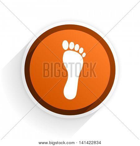 foot flat icon with shadow on white background, orange modern design web element