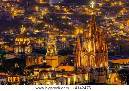 San Miguel de Allende Mexico Miramar Overlook Night Parroquia Archangel Church Close Up Churches Houses