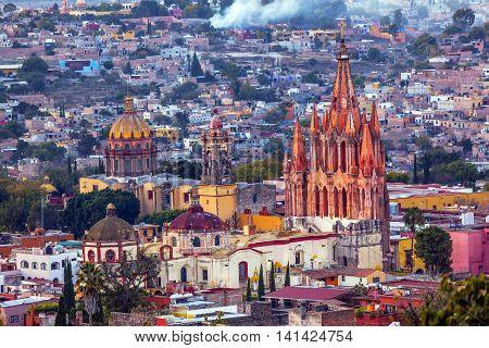 San Miguel de Allende Mexico Miramar Overlook Parroquia Archangel Church Close Up Churches Houses