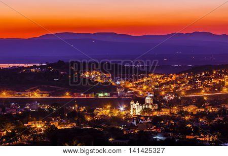 San Miguel de Allende Mexico Miramar Overlook Sunset Mountaints White Church Houses