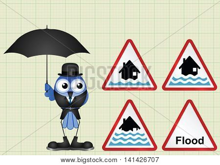 Flood alert flood warning and severe flood warning weather sign collection  on graph paper background