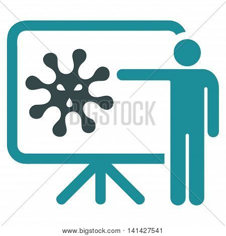 Virus Report vector icon. Style is bicolor flat symbol, soft blue colors, rounded angles, white background.
