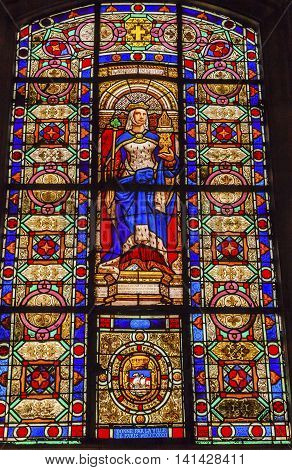 PARIS, FRANCE - MAY 31, 2015 Queen Blanche of Castile Staiting Her Love of Sons of France of Paris Stained Glass Saint Louis En L'ile Church Paris France. Saint Louis En L'ile church built in Notre Dame was built in 1726 on the island in back of Nortre Da